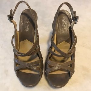 MICHAEL Michael Kors Shoes - Michael Michael Kors Taupe/Clear Platform Sandals